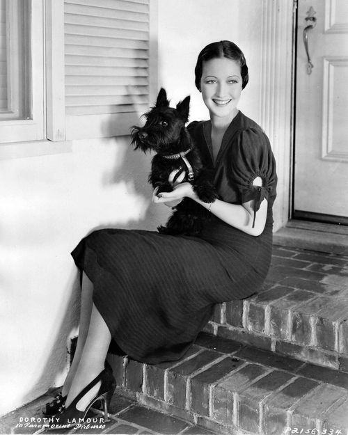 Dorothy Lamour and a Scottie.