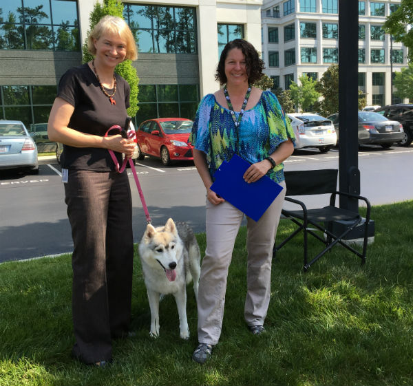 Sheila Goffe with Harley after completing his CGC test. Christine Weiss helped to test Harley.