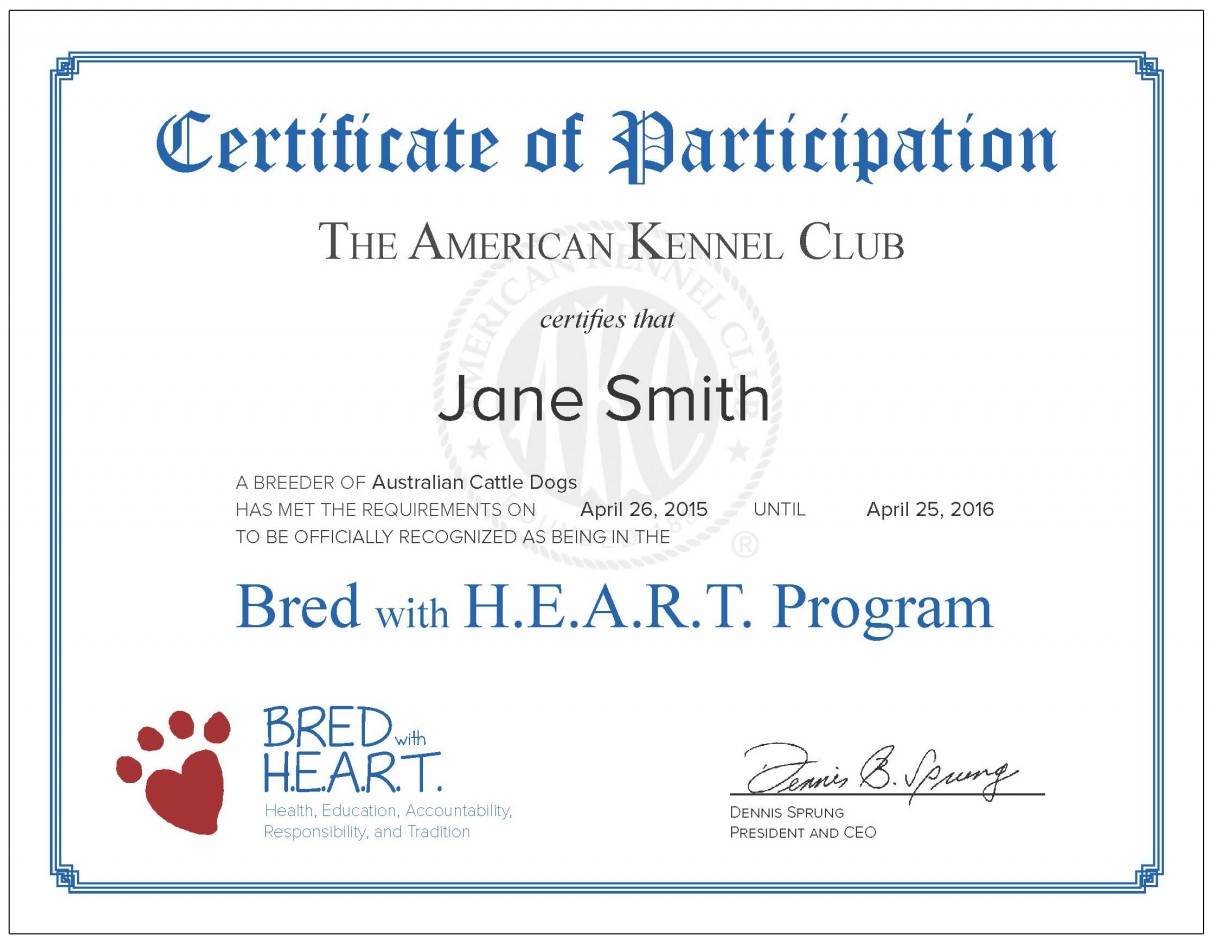Bred with h e a r t benefits for Template for certificate of participation in workshop