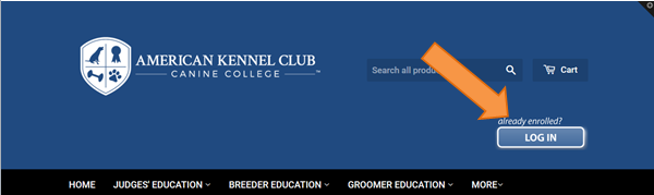 header from AKC canine college pointing to the login button on the right that will take the user directly to the Learning Management System
