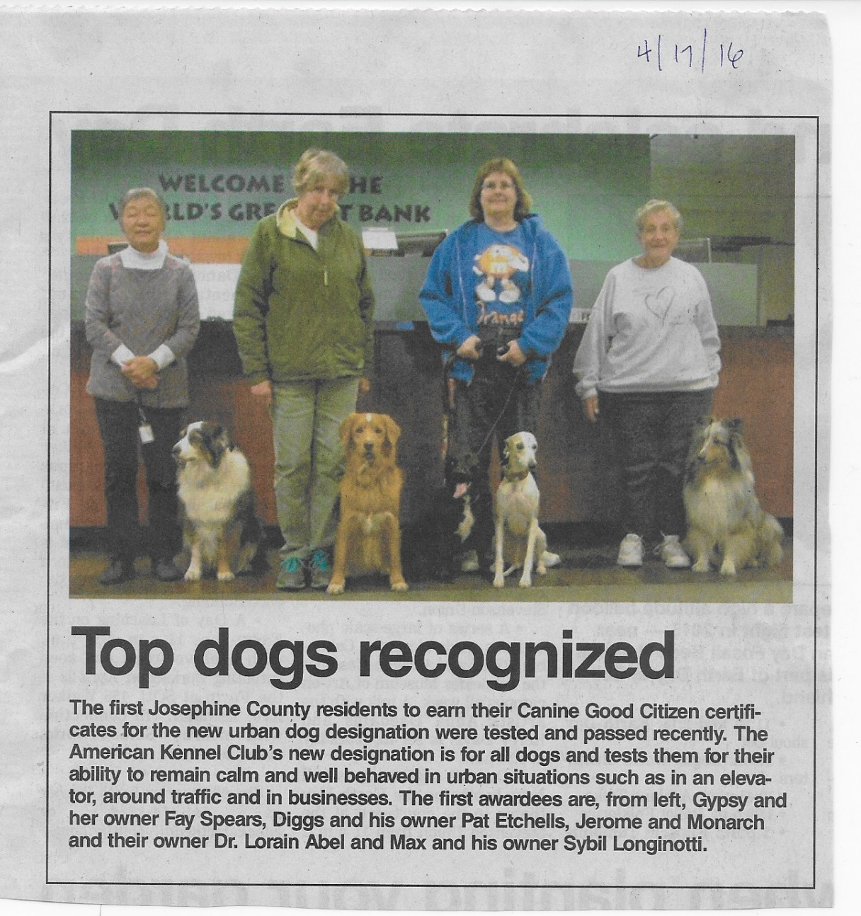 Rogue Valley Kennel Club Makes the News