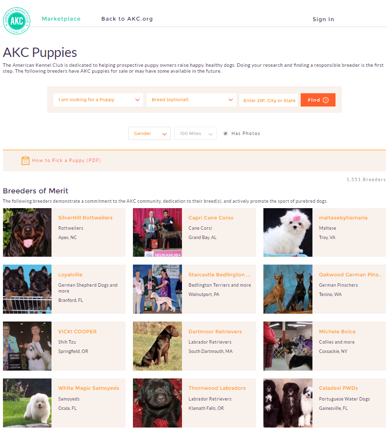 AKC Marketplace Screenshot