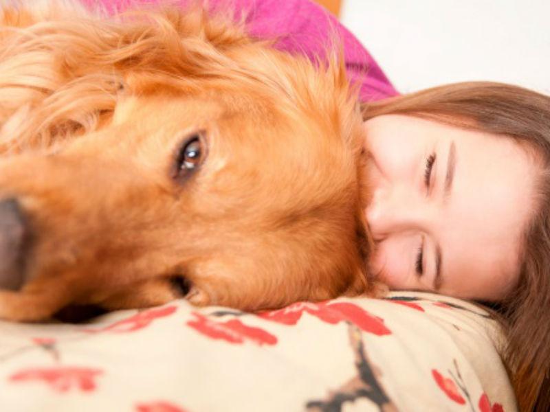 cuddling with dog
