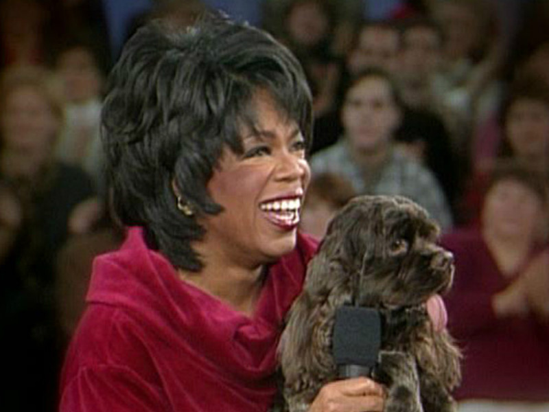Oprah and her cocker spaniel