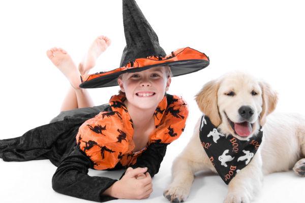 halloween girl and dog