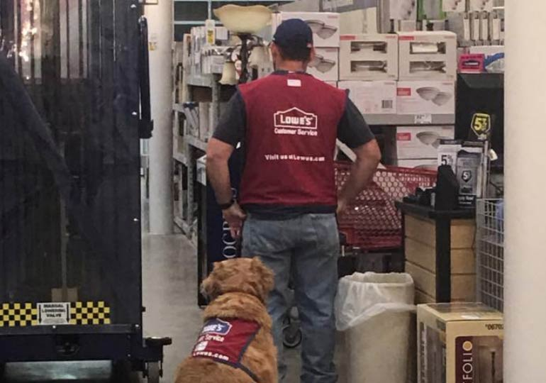 Air Force Veteran and His Service Dog Are On the Job Together at Lowe's