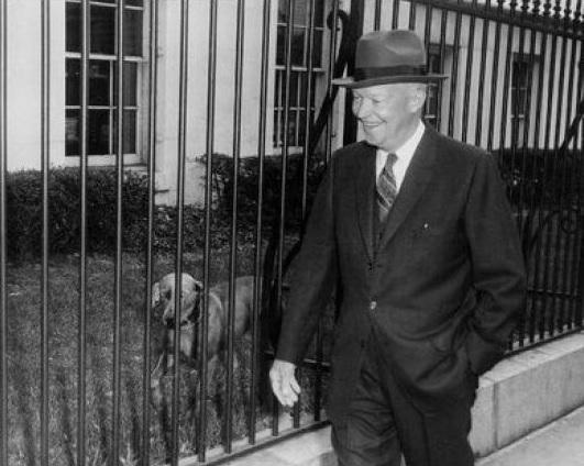 Dwight D. Eisenhower with Weimeraner