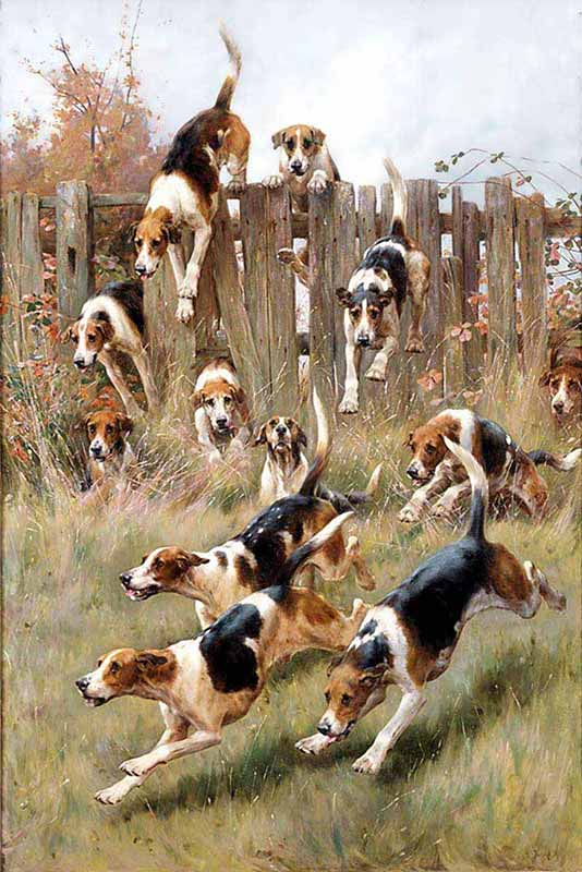 """Hounds at Full Cry,"" by Thomas Blinks, courtesy William Secord Gallery"