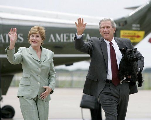 Laura and George W. Bush with Scottish Terrier
