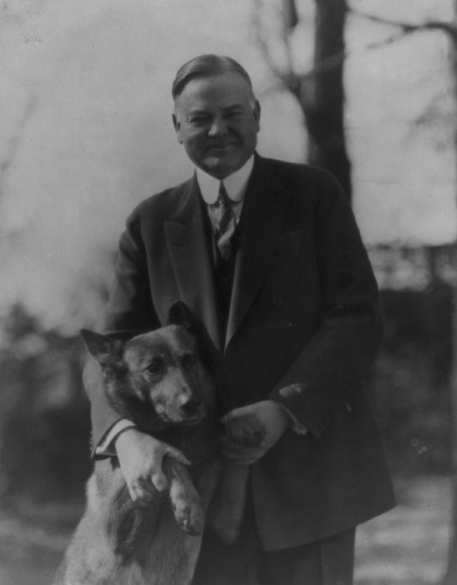 Herbert Hoover with Belgian Malinois