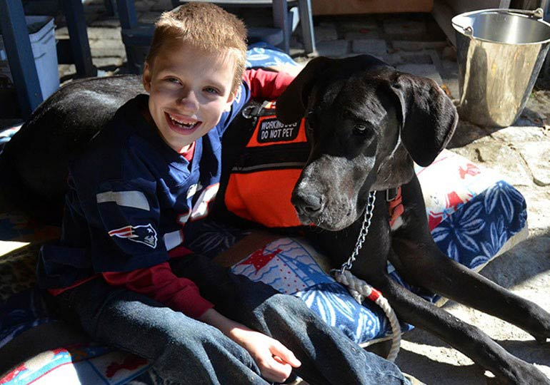 4th Grader with Cerebral Palsy Leans On His Great Dane Service Dog