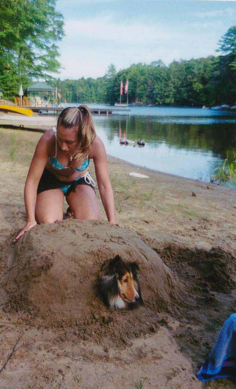 Missy being shaped into sand creature.