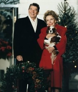 Ronald and Nancy Reagan with Cavalier King Charles Spaniel