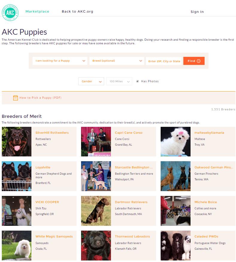Captura de pantalla de AKC Marketplace
